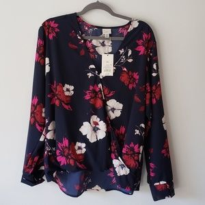 Navy A new Day long sleeve floral blouse XXL